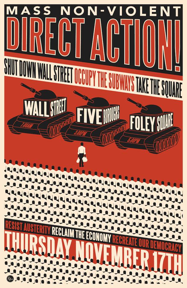 plakat Globalnego Dnia Akcji (occupywallst.org)