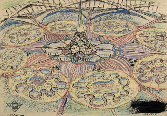 Jan Gluszak, Miasto sloneczne Humanopolis, 1965; dzięki uprzejmości Fundacji Galerii Foksal