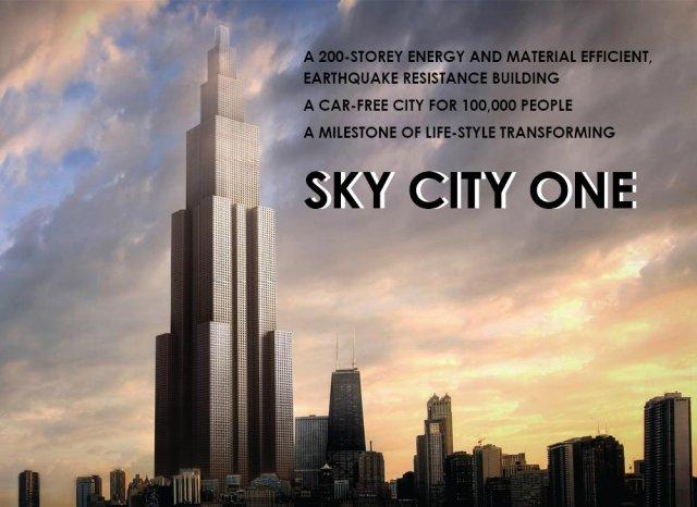 Wizualizacja wieżowca Sky City One, fot: http://www.broad.com:8089/english/down/en_sky_city.pdf