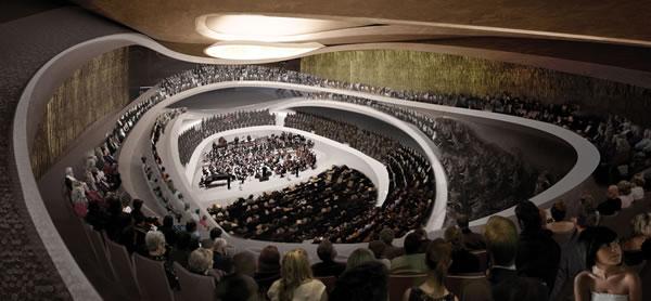 Propozycja konkursowa nowej siedziby Sinfonii Varsovii, proj. Thomas Pucher, źródło: www.sinfoniavarsovia.org