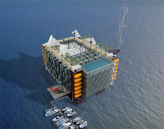 Oil Rig Resort, Morris Architects, źródło: www.radicalinnovationinhospitality.com