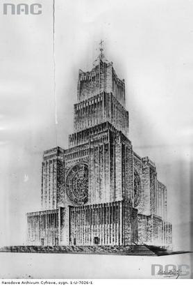 Projekt Świątyni Opatrzności Bożej na Polu Mokotowskim w Warszawie, proj. Bohdan Pniewski, źródło: archiwum NAC, 1-U-7026-1