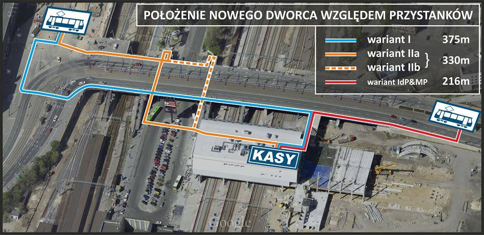 Niepraktyczny rozkład przejśc i przystnków w okolicy Dworca Głównego w Poznaniu; źródło: www.facebook.com/naPoznanGlowny
