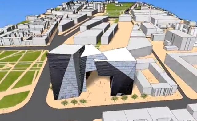 Projekt Bramy Miasta, Łódź, proj. Daniel Libeskind, źródło: kadr z wizualizacji, opracowanej przez architekta