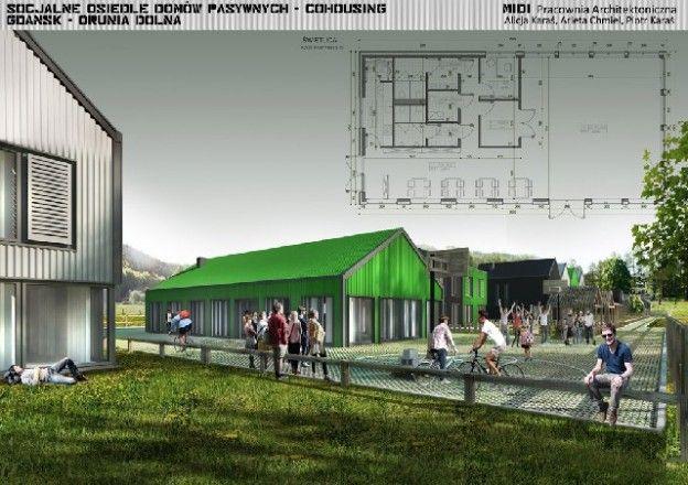 Socjalne osiedle mieszkaniowe typu cohousing, proj. MIDI Pracownia Architektoniczna, źródło: http://midi-architekci.pl